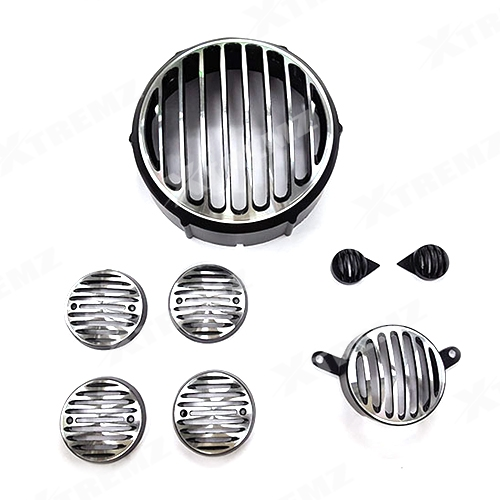 Xtremz Headlight Metal Grill Set of 8 pieces (Diamond Cut) For Royal  Enfield Classic 350 & 500