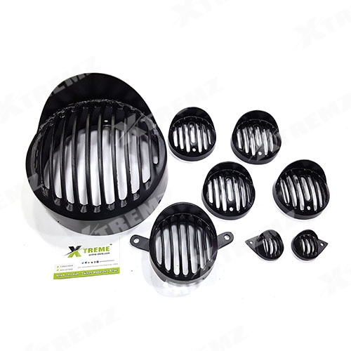 Xtremz Headlight Metal Black Grill Set With Cap Model Set of 8 pieces For  Royal Enfield Classic 350 & 500